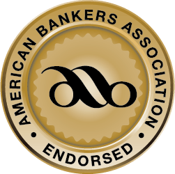 Gold seal with black letters indicating that ICS and CDARS are endorsed by the American Bankers Association